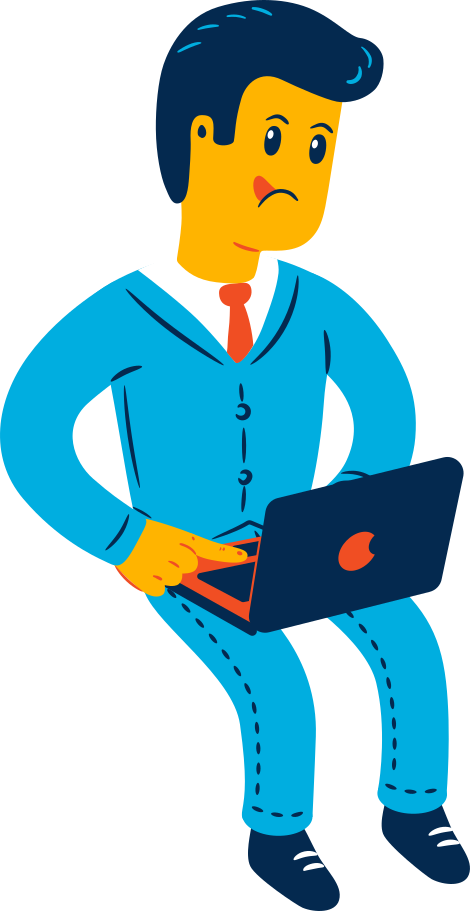 man sitting with laptop Clipart illustration in PNG, SVG