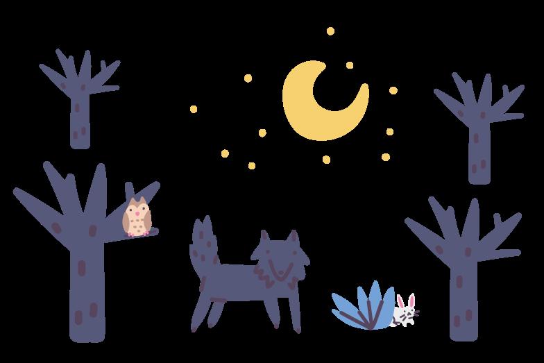 Forest nightlife Clipart illustration in PNG, SVG