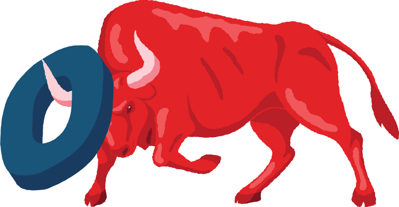angry bull with zero digit Clipart illustration in PNG, SVG