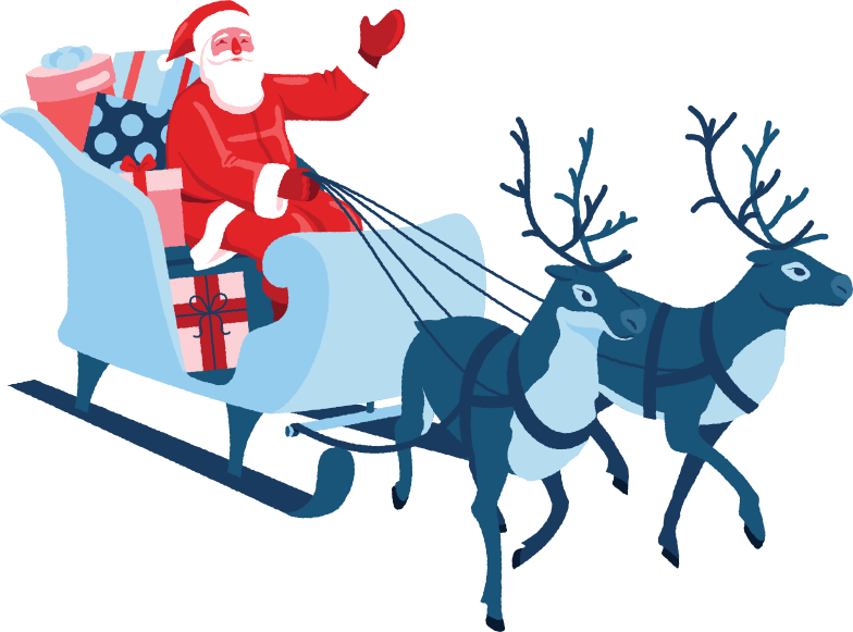 santa in sleigh with reindeers Clipart illustration in PNG, SVG