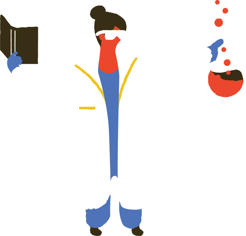 medic with test tubes Clipart illustration in PNG, SVG