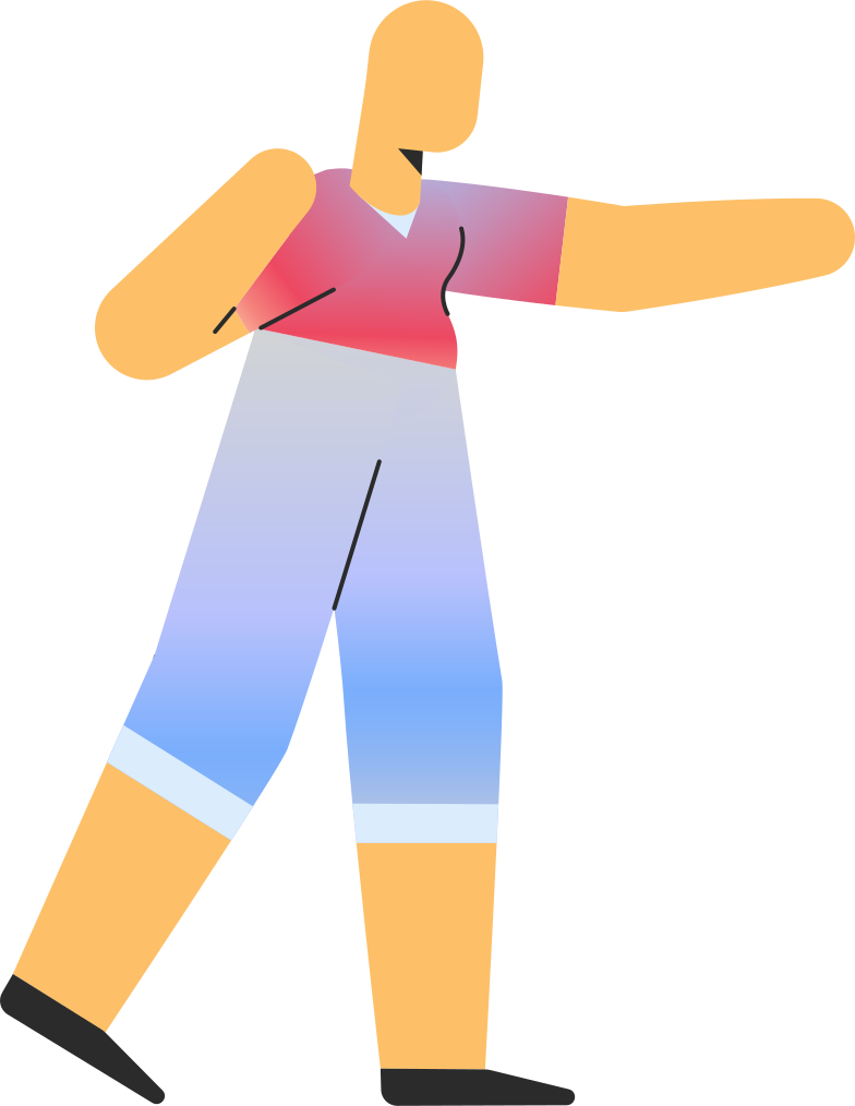 adult in shorts pointing Clipart illustration in PNG, SVG