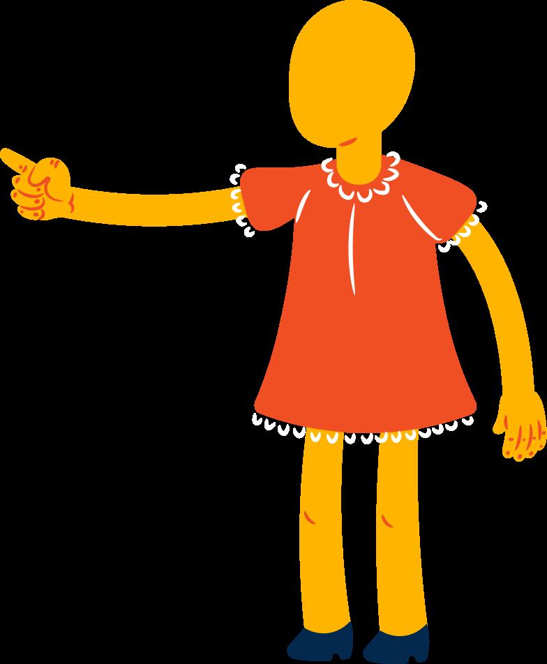girl points Clipart illustration in PNG, SVG