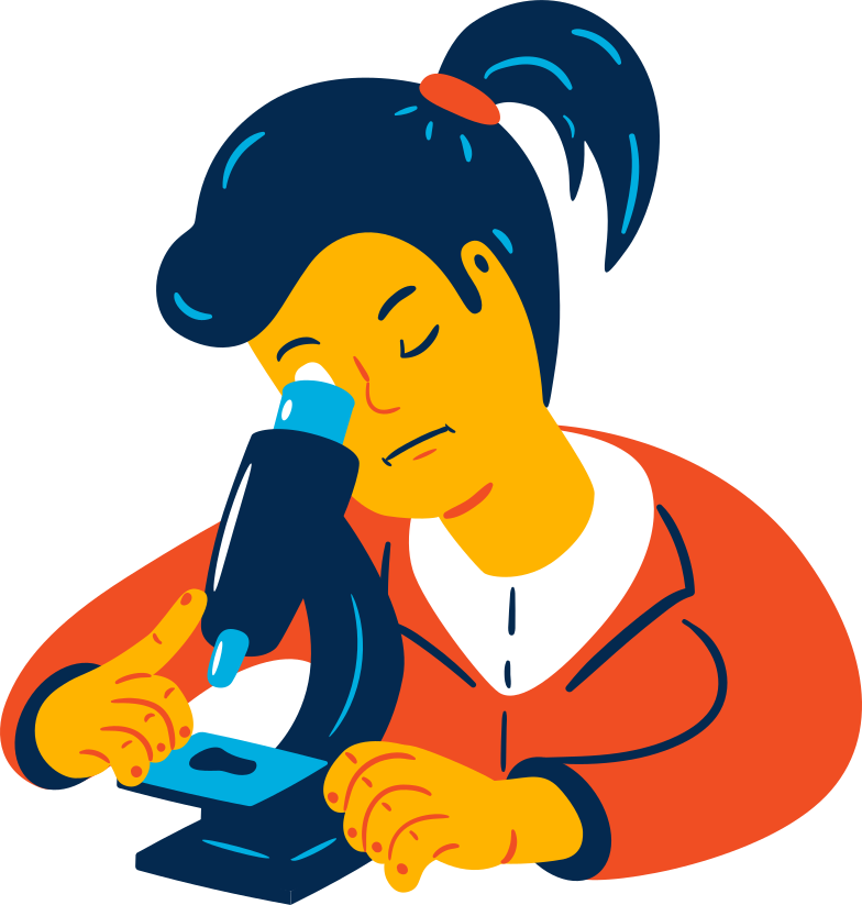 woman with microscope Clipart illustration in PNG, SVG