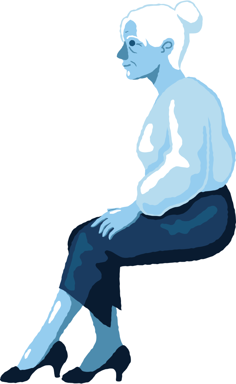 old woman sitting profile Clipart illustration in PNG, SVG