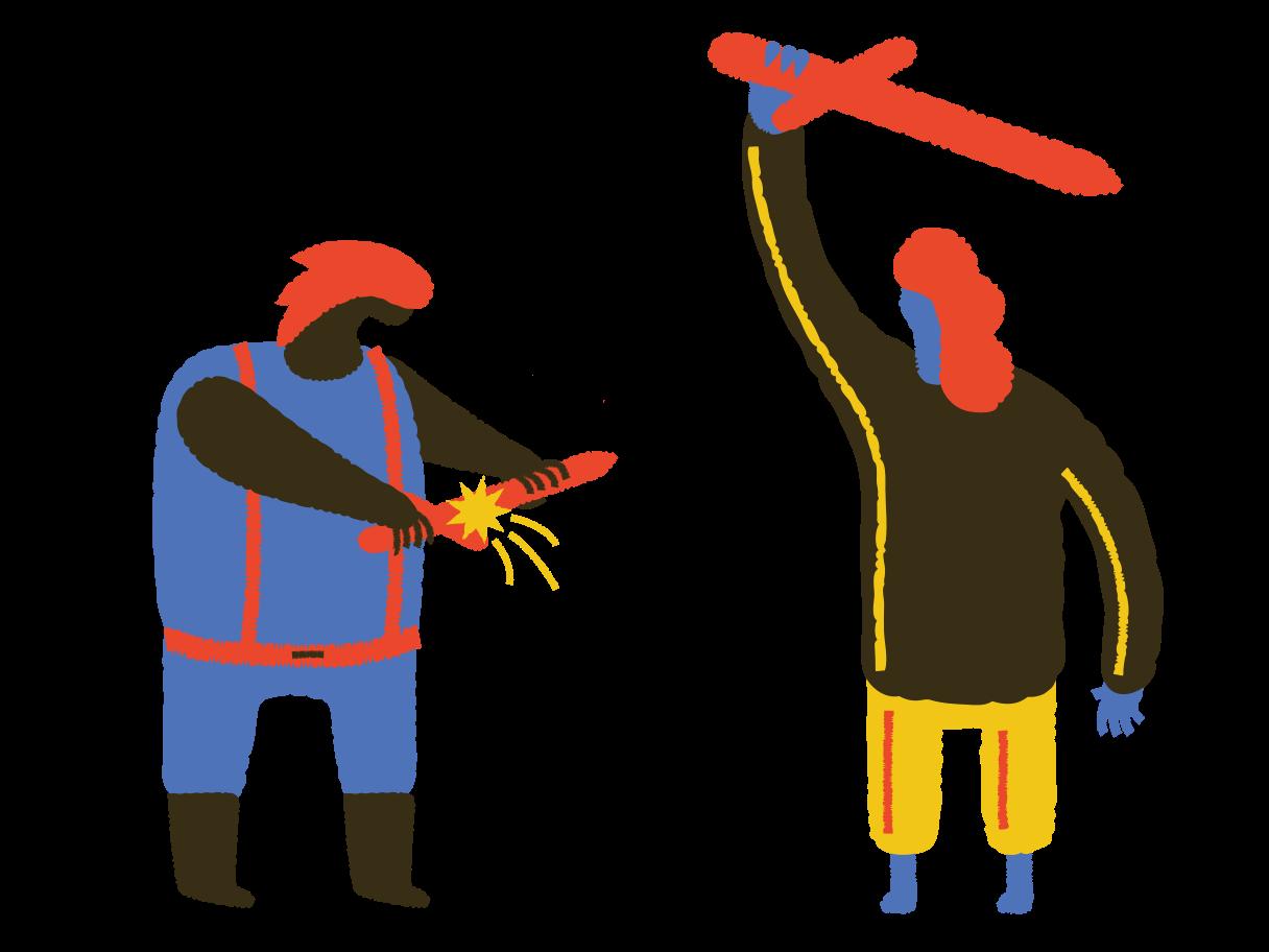 Sword fighting Clipart illustration in PNG, SVG