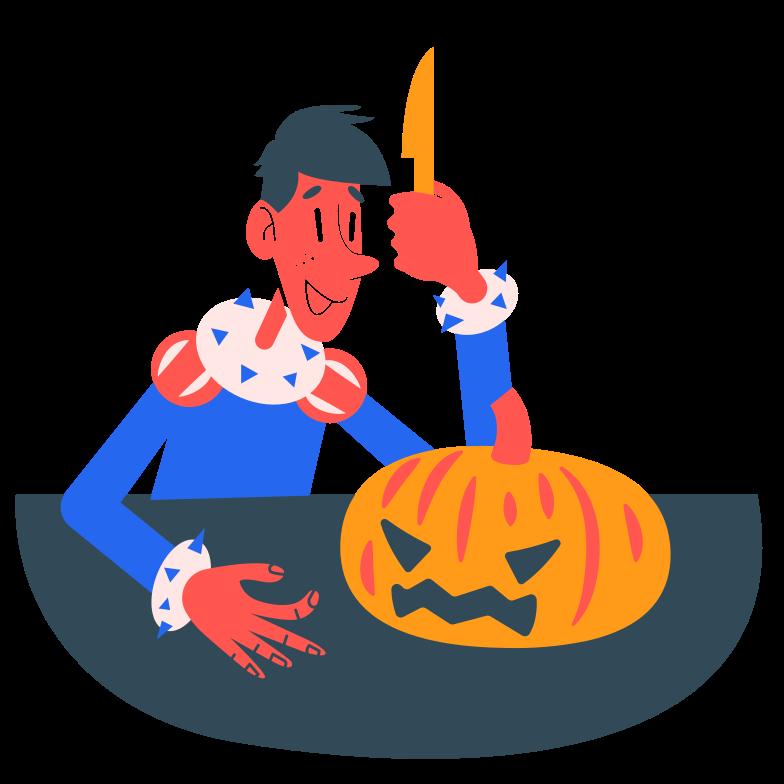 Pumpkin carving Clipart illustration in PNG, SVG