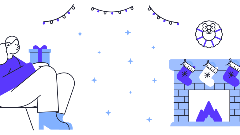 Cozy Christmas evening  Clipart illustration in PNG, SVG