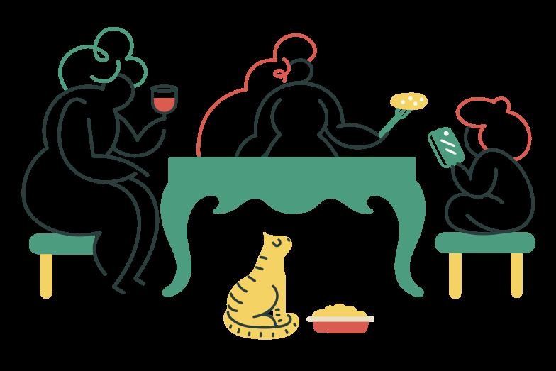Family dinner Clipart illustration in PNG, SVG