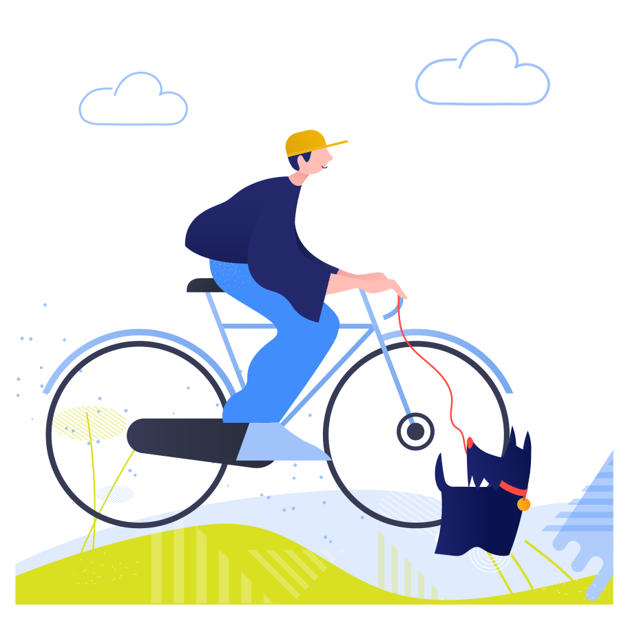 Cycling with dog Clipart illustration in PNG, SVG