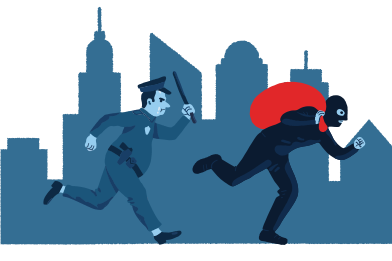 style Chasing the thief images in PNG and SVG | Icons8 Illustrations