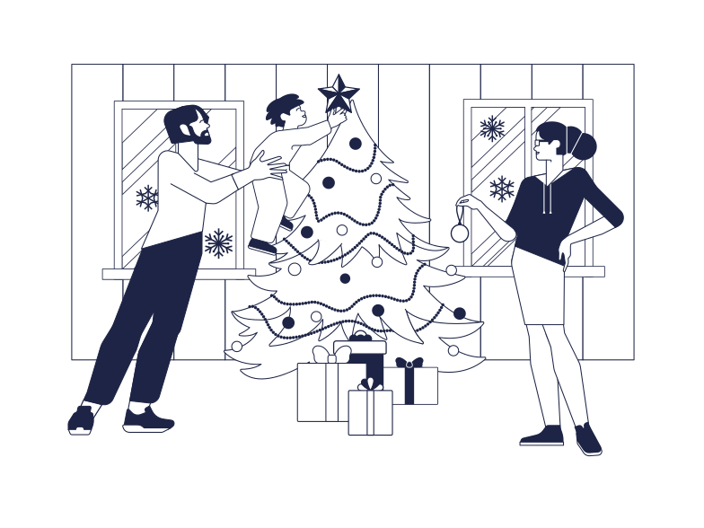 Family Christmas Clipart illustration in PNG, SVG