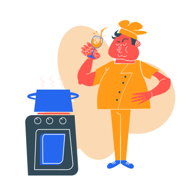 style The cook is drinking images in PNG and SVG | Icons8 Illustrations