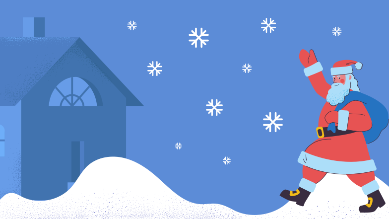 Santa on Christmas eve  Clipart illustration in PNG, SVG