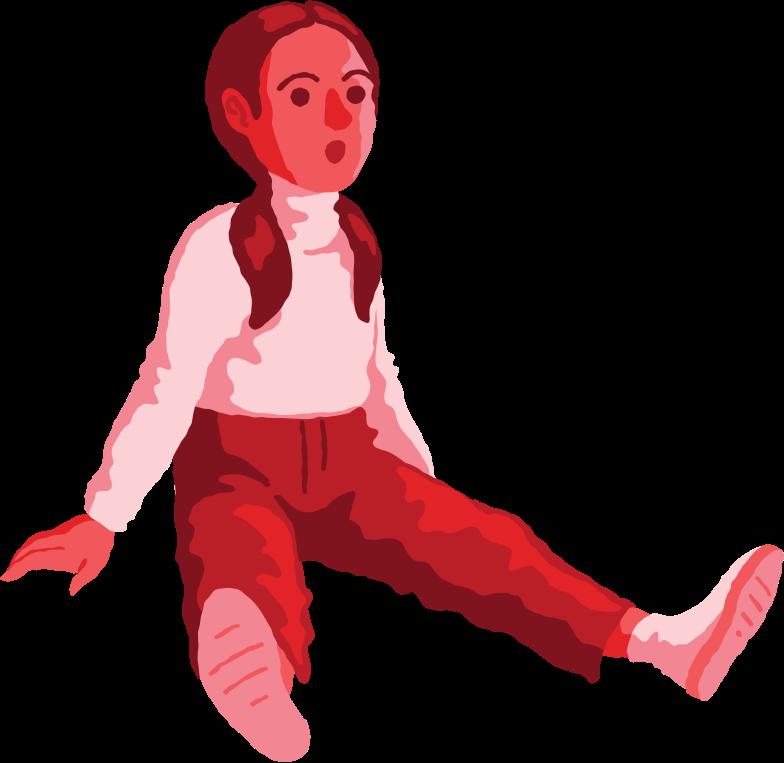 girl sitting front Clipart illustration in PNG, SVG