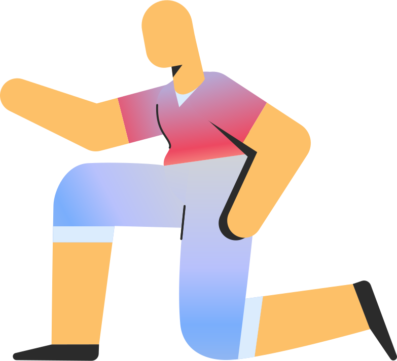 adult in shorts on knee Clipart illustration in PNG, SVG