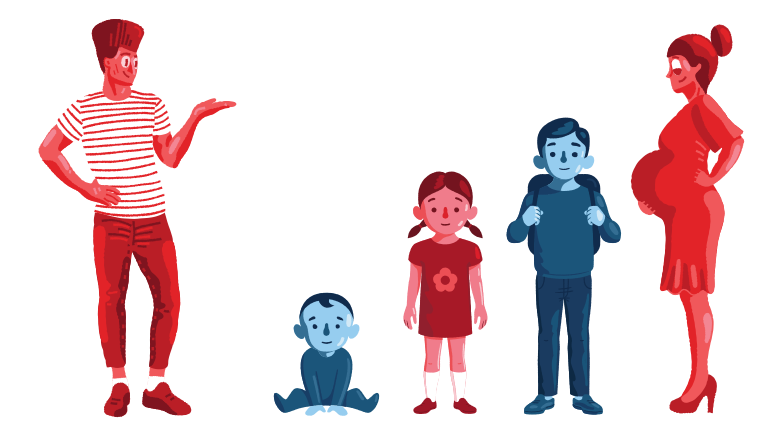 Large family Clipart illustration in PNG, SVG