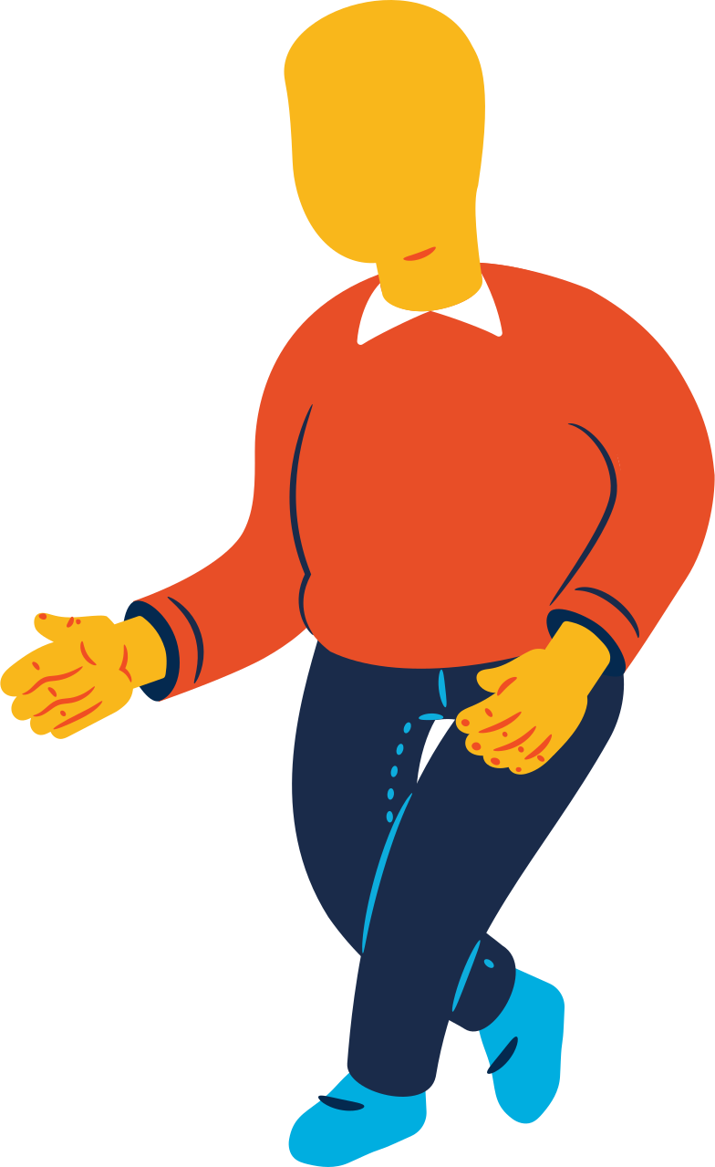 chubby man walking Clipart illustration in PNG, SVG