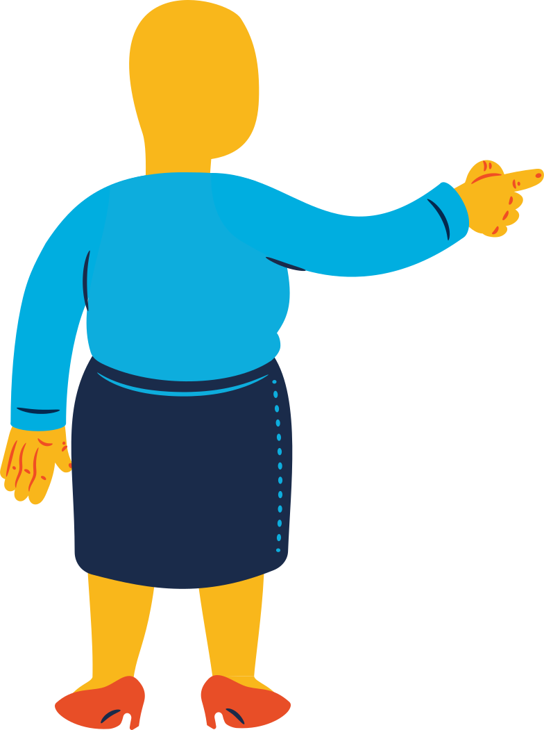 chubby woman pointing back Clipart illustration in PNG, SVG