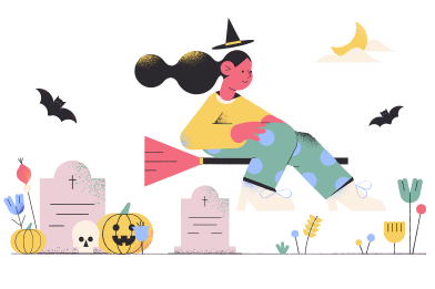 style Witch at the graveyard images in PNG and SVG | Icons8 Illustrations