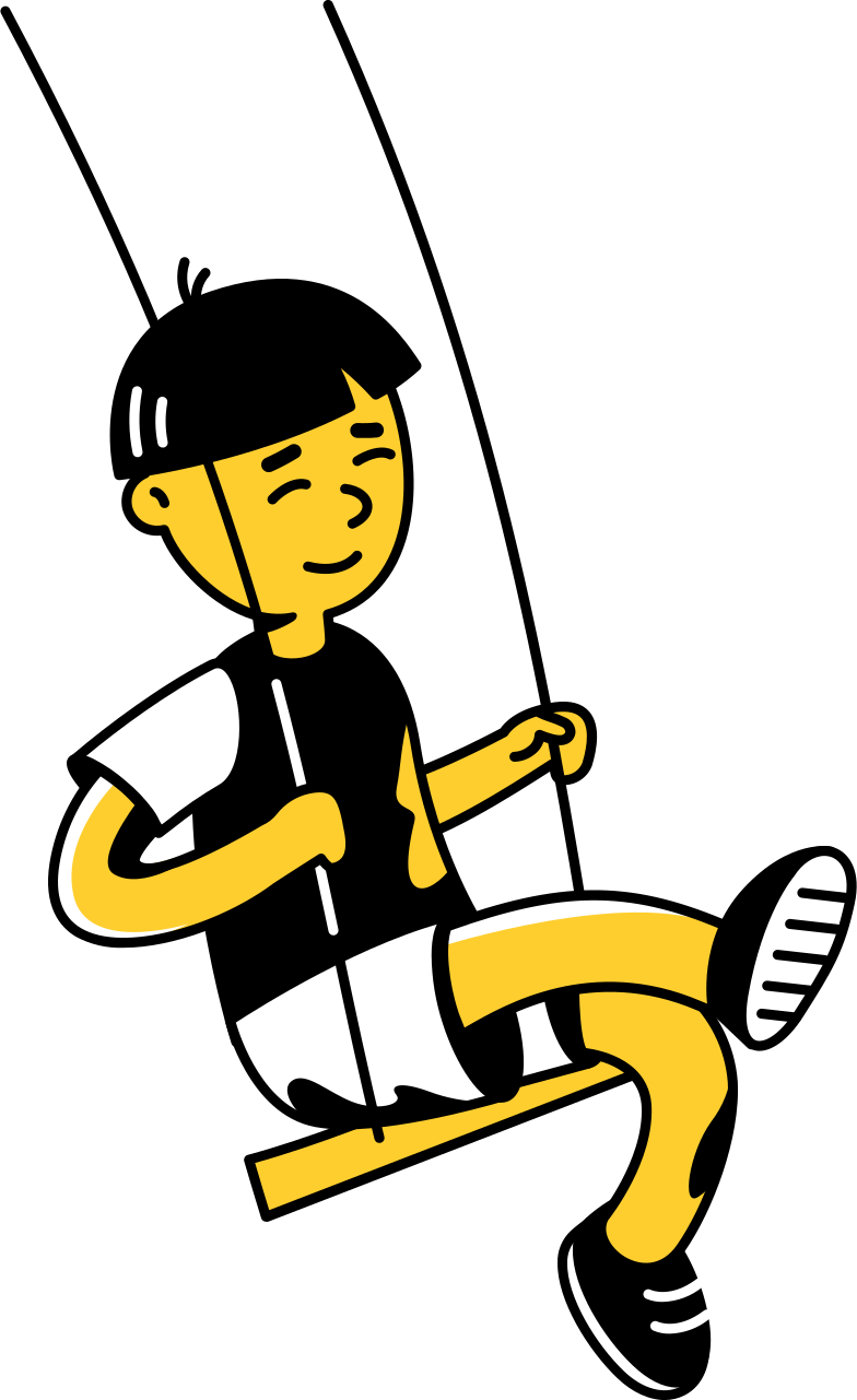playground  kid on swings Clipart illustration in PNG, SVG