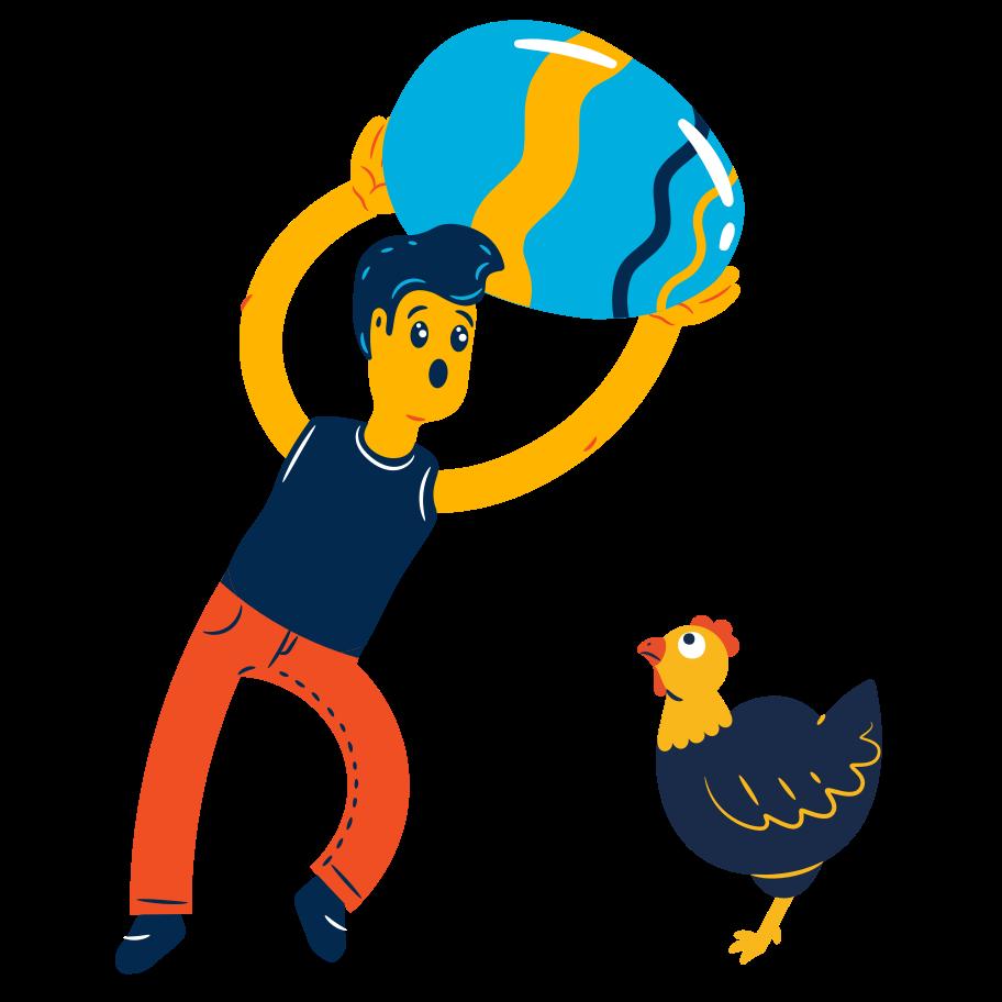 Boy found a huge egg Clipart illustration in PNG, SVG