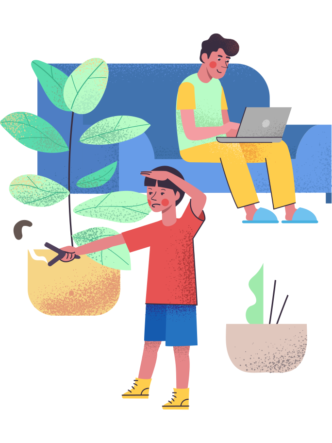 style Isolation: son entertain himself while father working remotely Vector images in PNG and SVG | Icons8 Illustrations