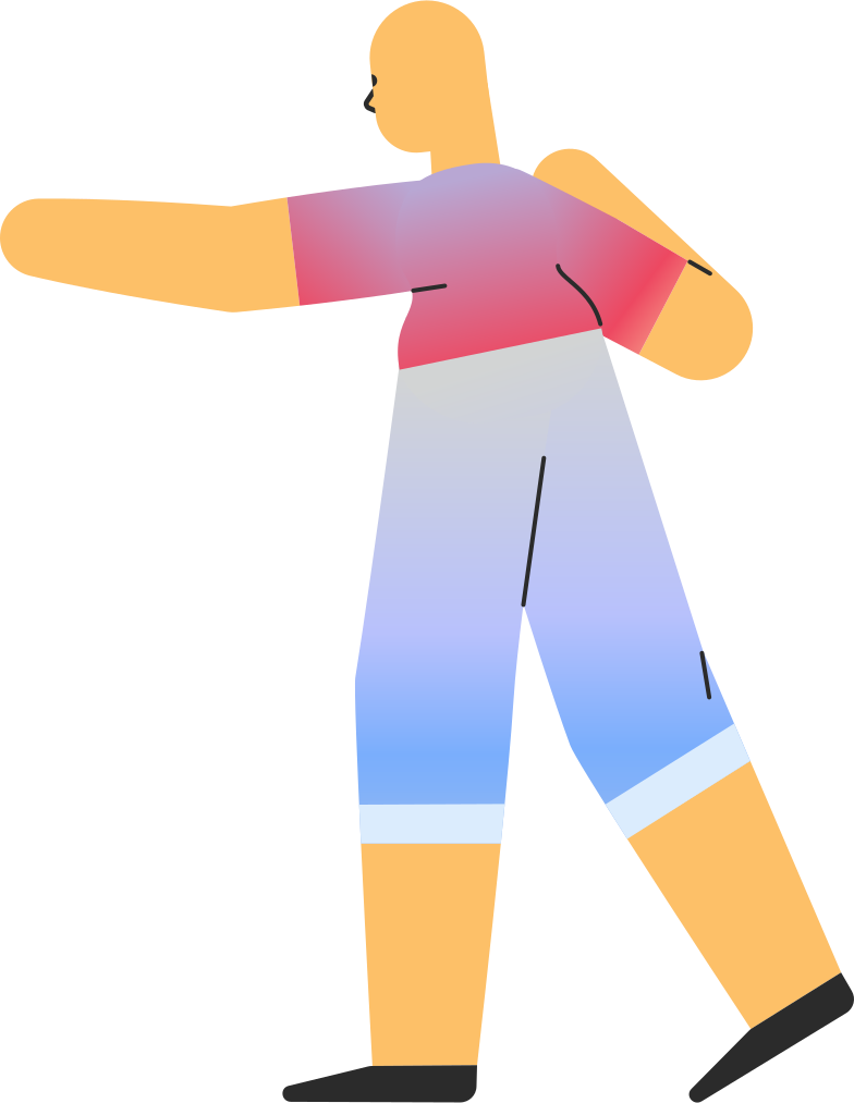 adult in shorts pointing back Clipart illustration in PNG, SVG