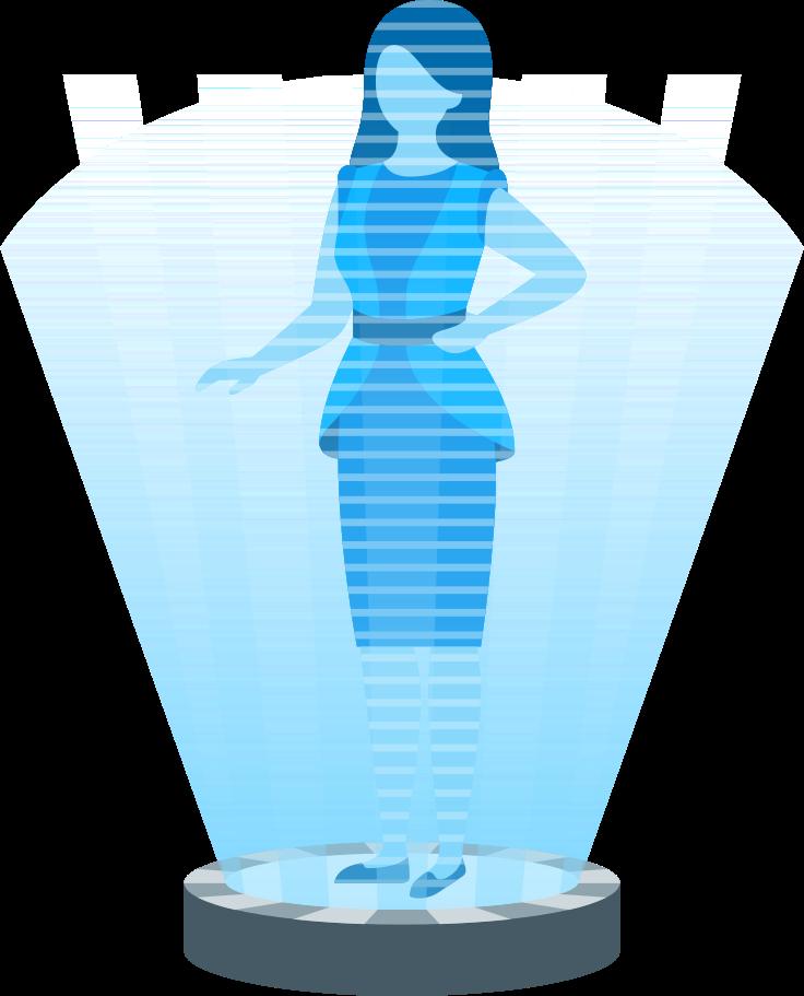 Ilustración de clipart de Mujer en proyector holográfico en PNG, SVG