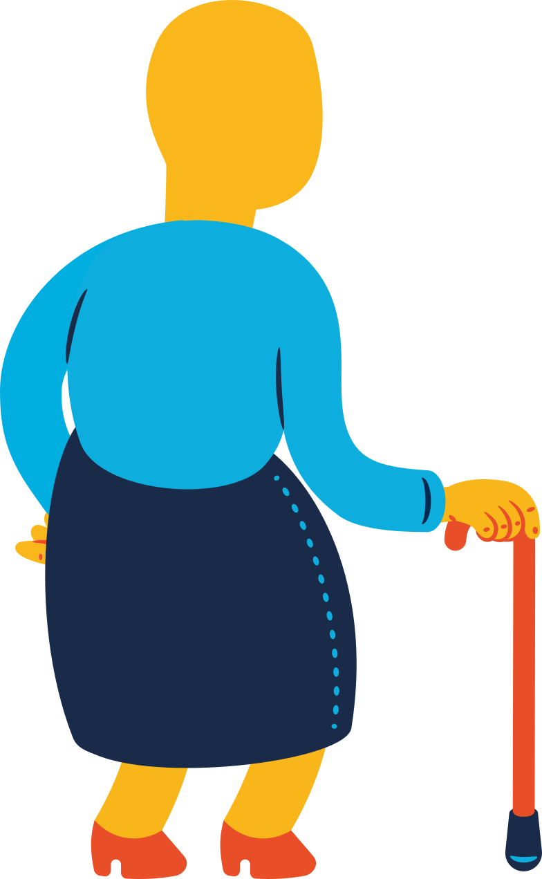 old woman standing back Clipart illustration in PNG, SVG