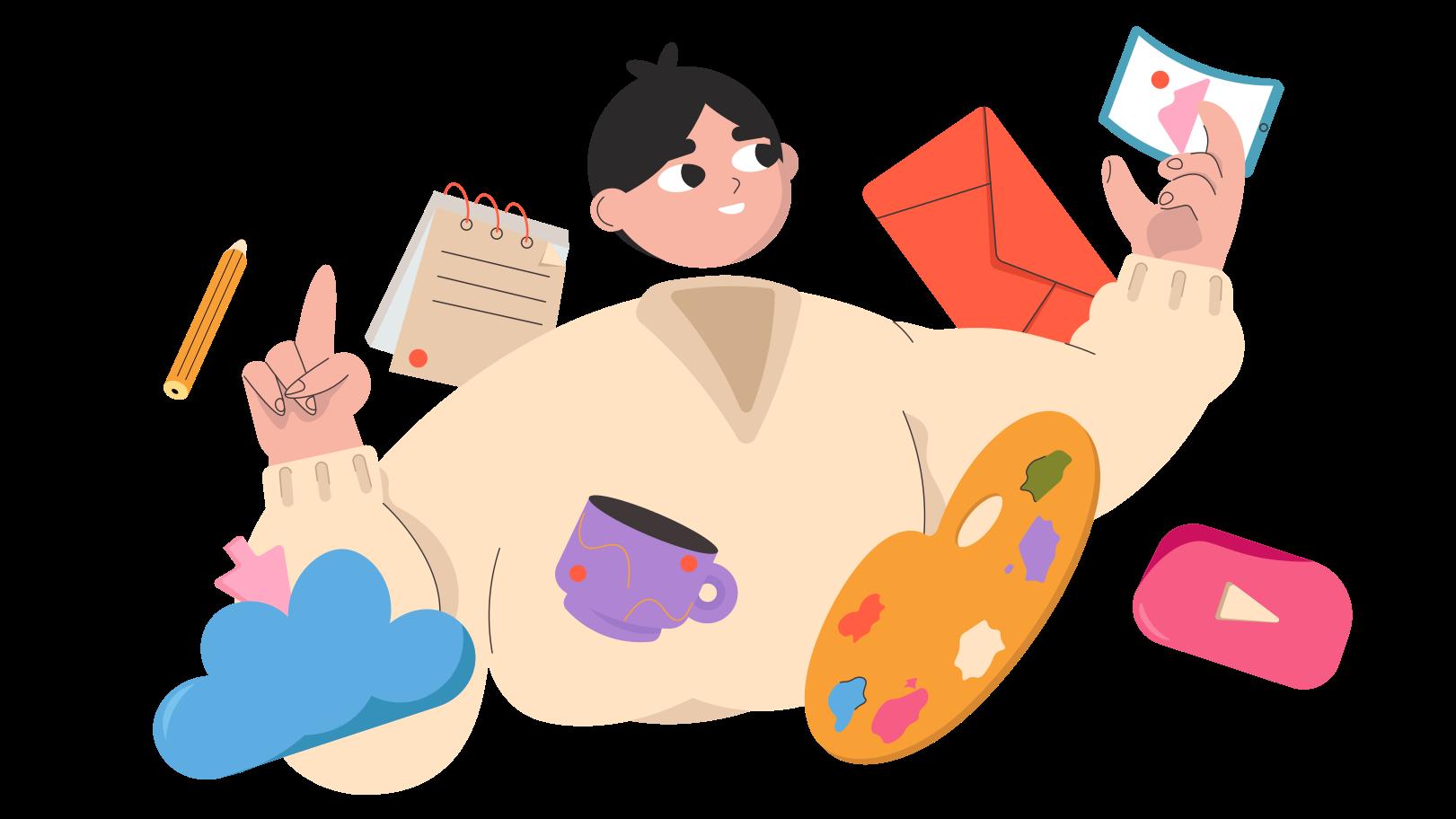 Multitasking Clipart illustration in PNG, SVG
