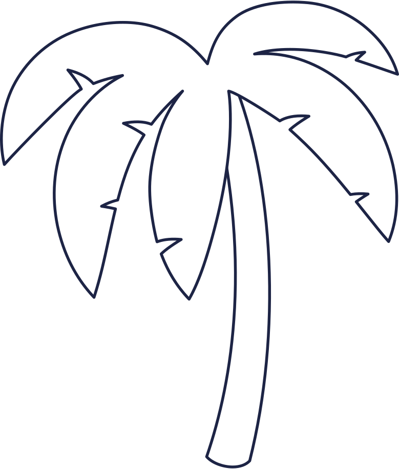 palm tree 2 line Clipart illustration in PNG, SVG