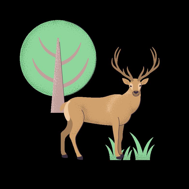 Deer under the tree Clipart illustration in PNG, SVG
