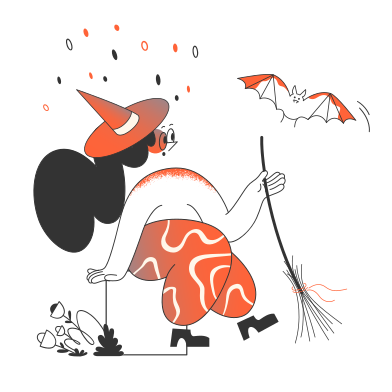 style Witch with bat  images in PNG and SVG | Icons8 Illustrations