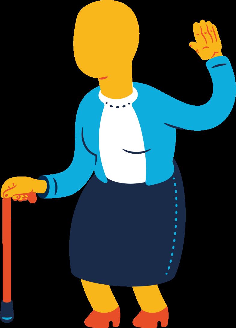 Illustration clipart Vieille femme salutation aux formats PNG, SVG