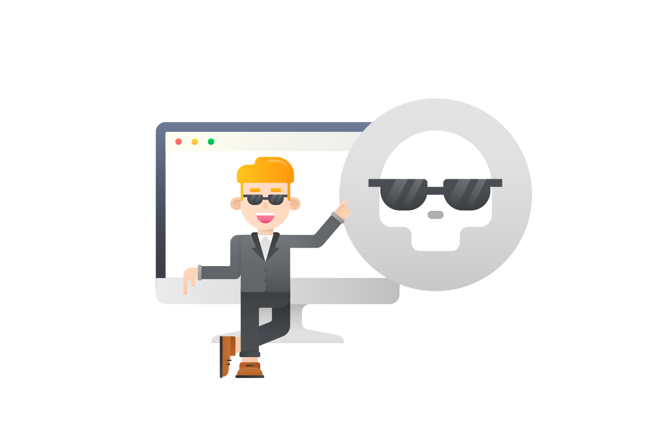 Dark web, web security service  Clipart illustration in PNG, SVG