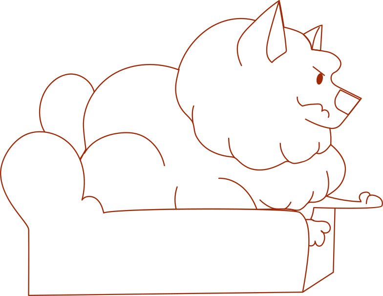 i remote work dog on the couch Clipart illustration in PNG, SVG