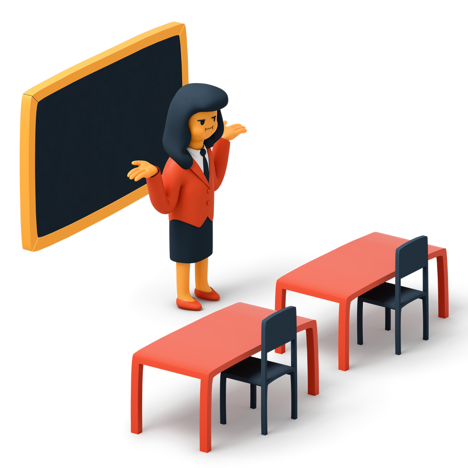School class is empty Clipart illustration in PNG, SVG