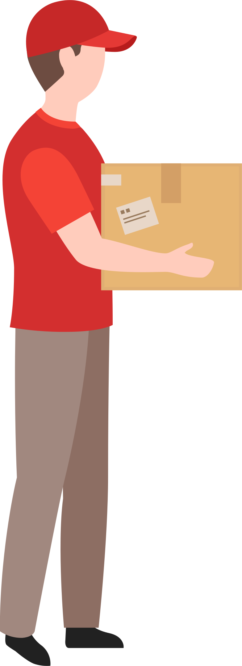 delivery man holding box Clipart illustration in PNG, SVG