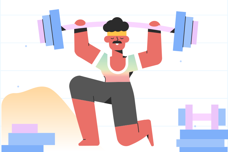 Getting stronger in the gym Clipart illustration in PNG, SVG