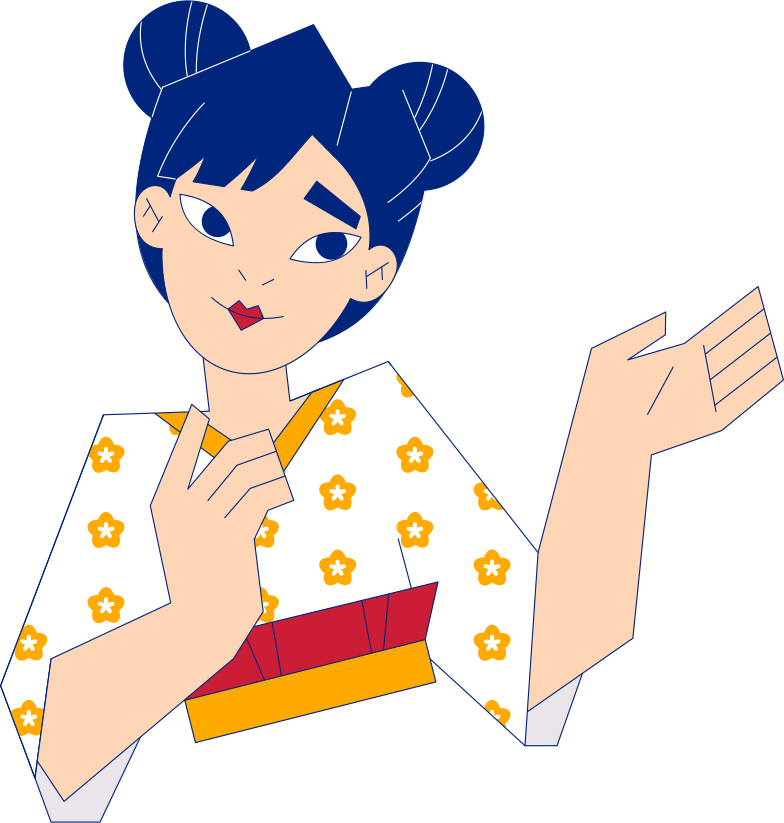 girl with buns showing smth Clipart illustration in PNG, SVG