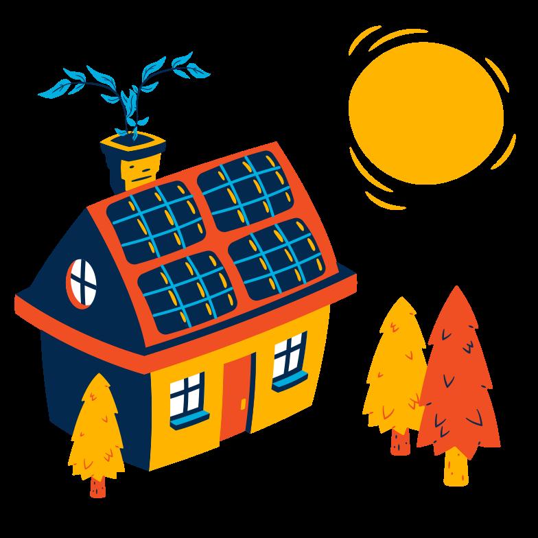 Solar house Clipart illustration in PNG, SVG