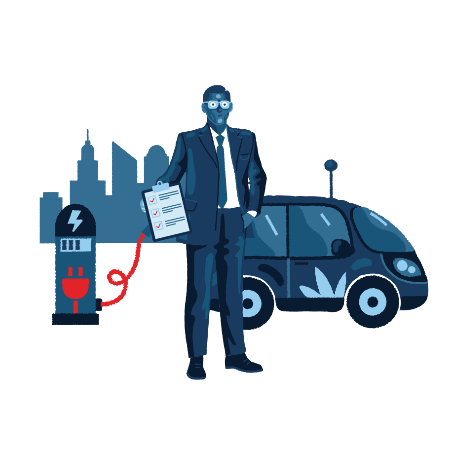 style Business man present electric car service  images in PNG and SVG | Icons8 Illustrations