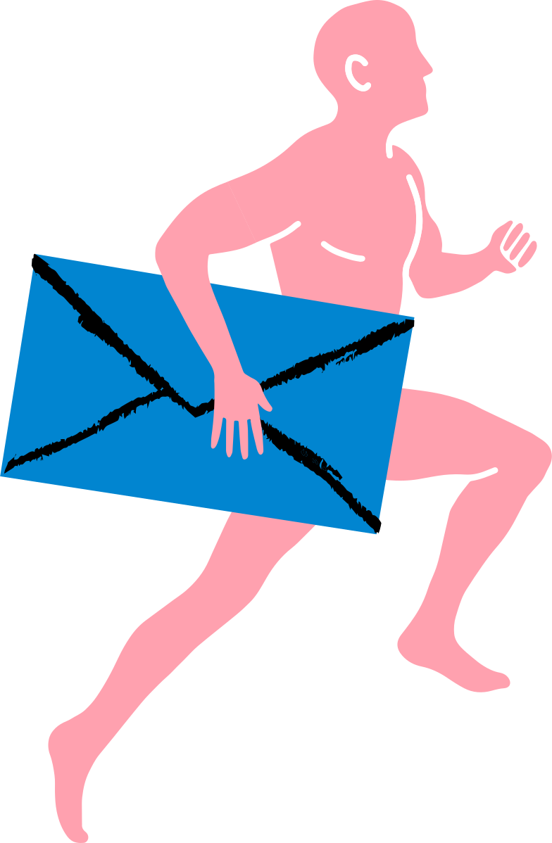 running man with letter Clipart illustration in PNG, SVG