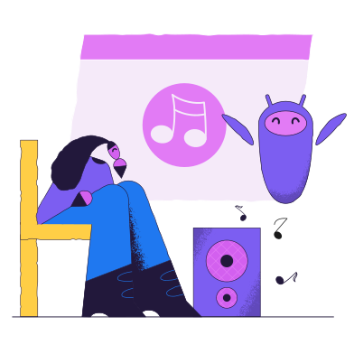 style Music control with electronic assistant images in PNG and SVG | Icons8 Illustrations