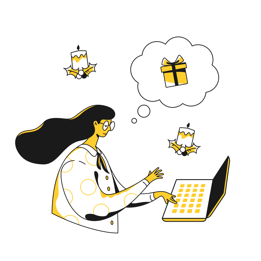 style Thinking about presents Vector images in PNG and SVG | Icons8 Illustrations