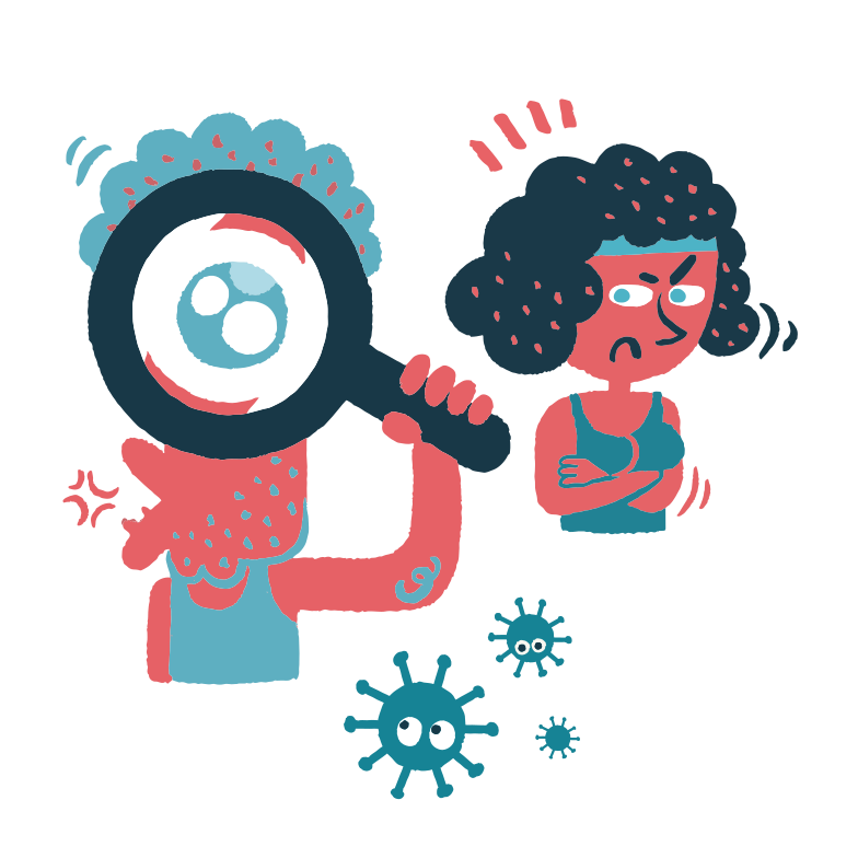 Coronavirus searching Clipart illustration in PNG, SVG
