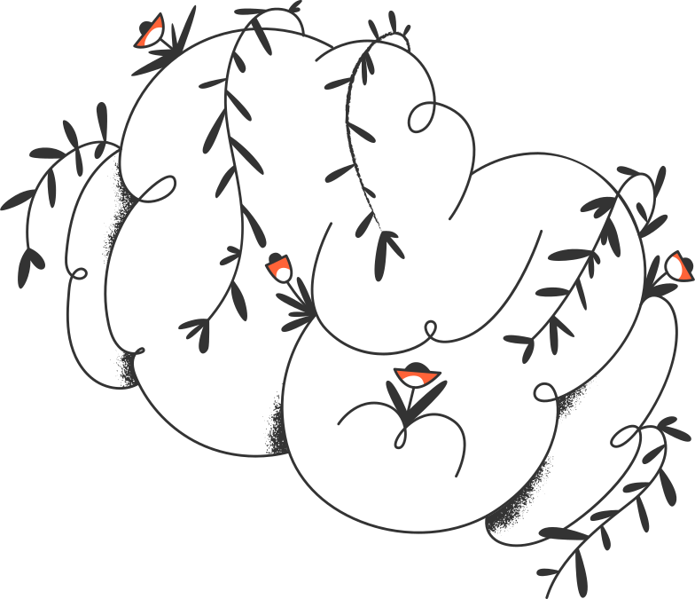 cloud with plants Clipart illustration in PNG, SVG