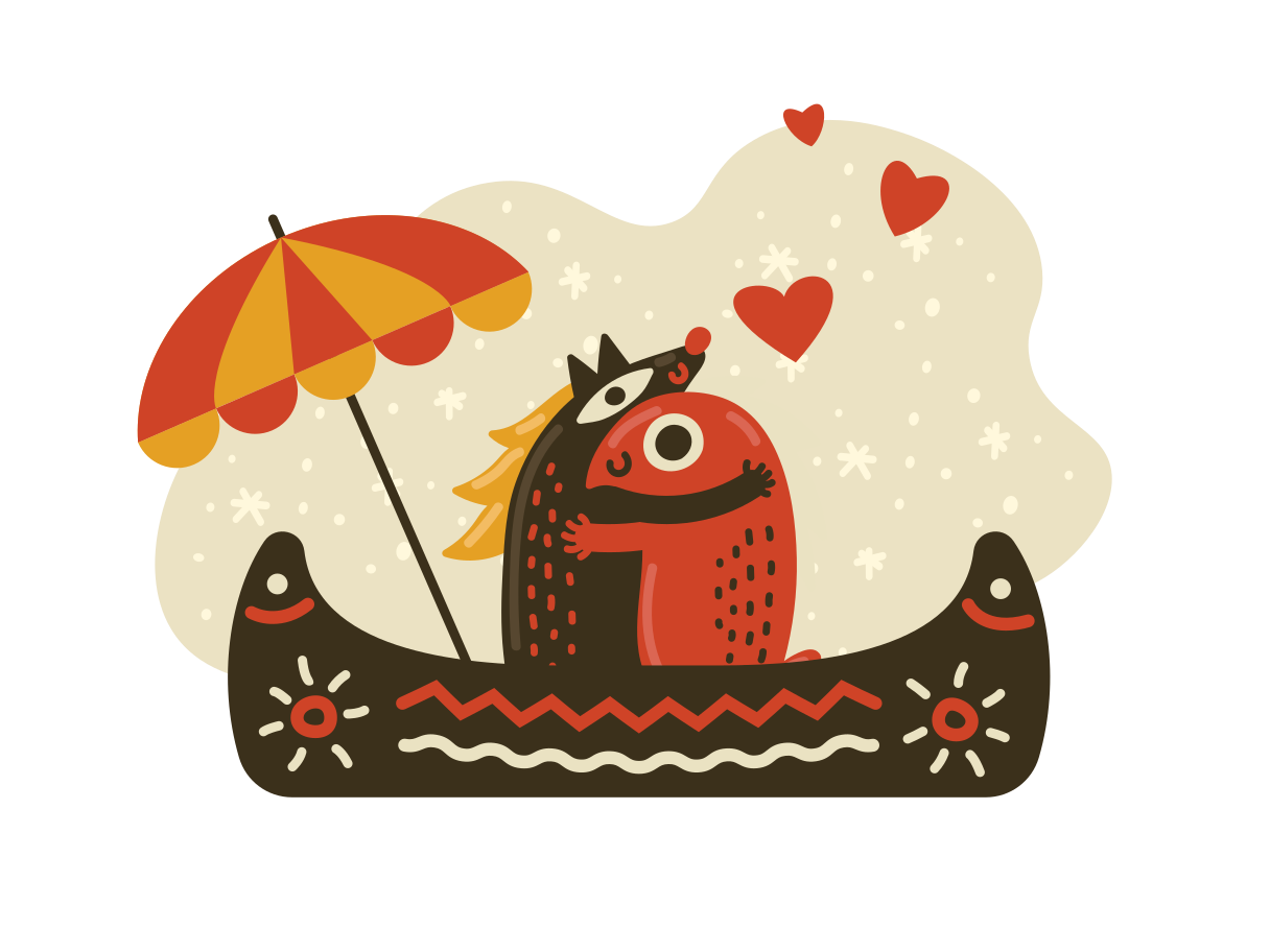 Two in a canoe Clipart illustration in PNG, SVG