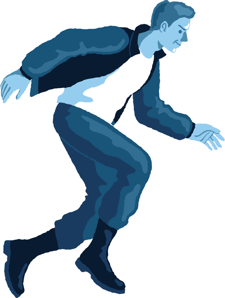 man jumping profile Clipart illustration in PNG, SVG